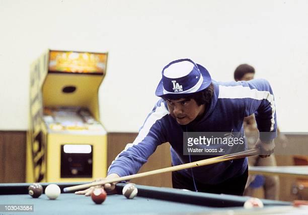 Casual portrait of Los Angeles Dodgers Fernando Valenzuela shooting pool in Dodgertown Vero Beach FL 4/10/1982 CREDIT Walter Iooss Jr