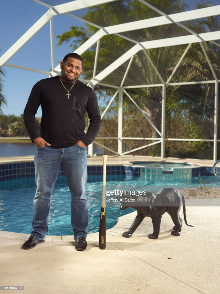 Casual portrait of San Francisco Giants Pablo Sandoval posing during photo shoot at his home. Jeffery A. Salter F202 )
