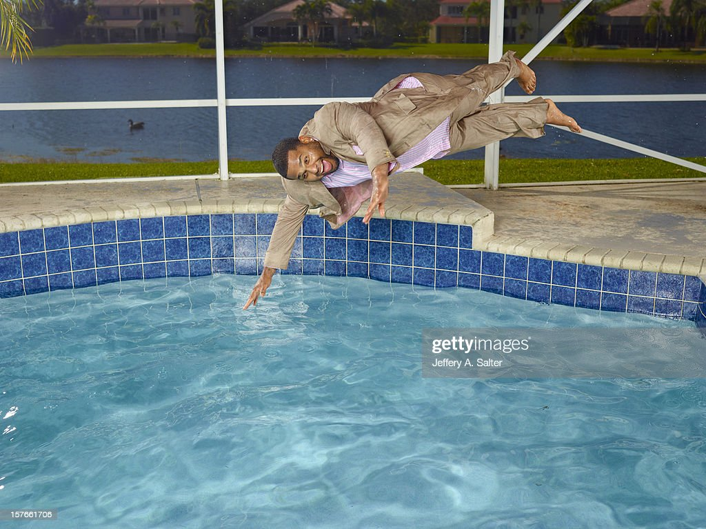 Casual portrait of San Francisco Giants third baseman Pablo Sandoval posing during photo shoot on his pool at home. Jeffery A. Salter F75 )