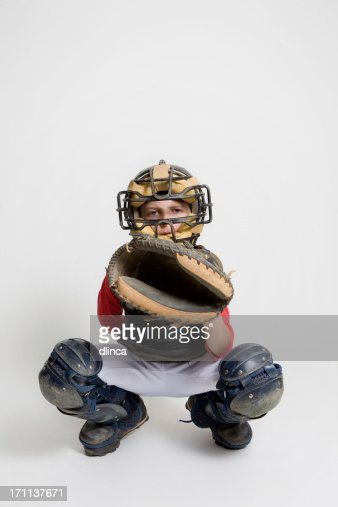 baseball catcher in studio