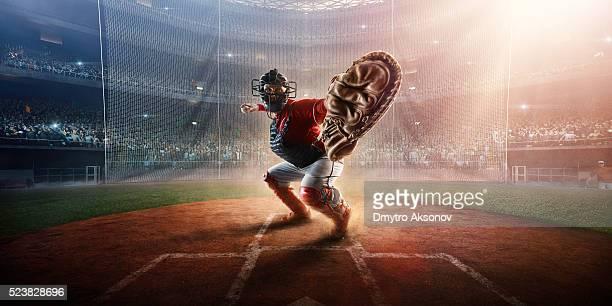 Baseball catcher on stadium