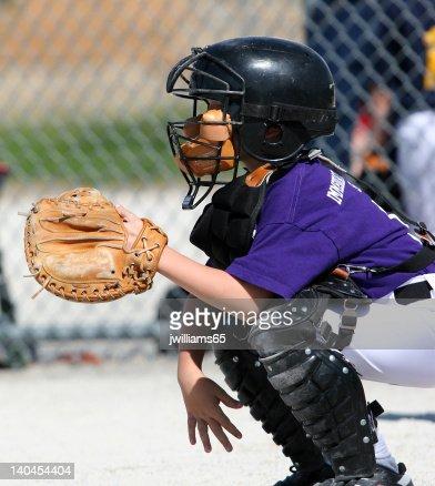 Receptor de béisbol : Foto de stock