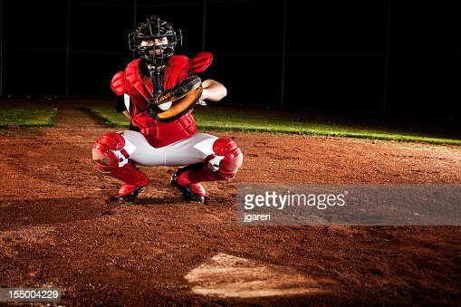 Baseball catcher ready for action