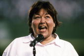 Celebrity comedian and actress Roseanne Barr singing national anthem before San Diego Padres vs Cincinnati Reds game Barr's offkey version was...