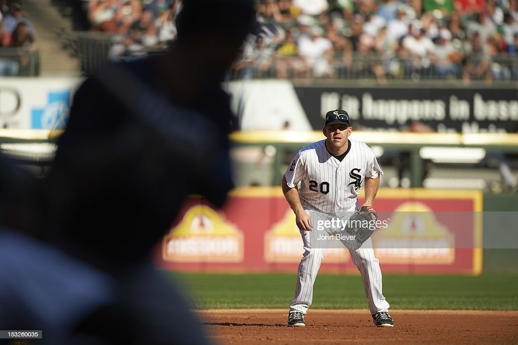 Chicago White Sox Kevin Youkilis (20) in field during game vs Tampa Bay Rays at US Cellular Field. John Biever F119 )
