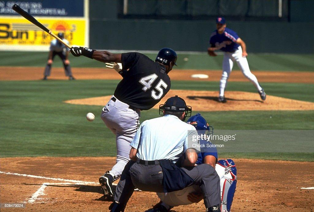 Chicago White Sox Michael Jordan in action at bat vs Texas Rangers during spring training game at Charlotte Sports Park Port Charlotte FL CREDIT...