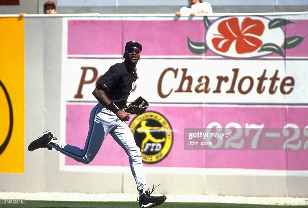Chicago White Sox Michael Jordan in action fielding fly ball vs Texas Rangers during spring training game at Charlotte Sports Park Port Charlotte FL...