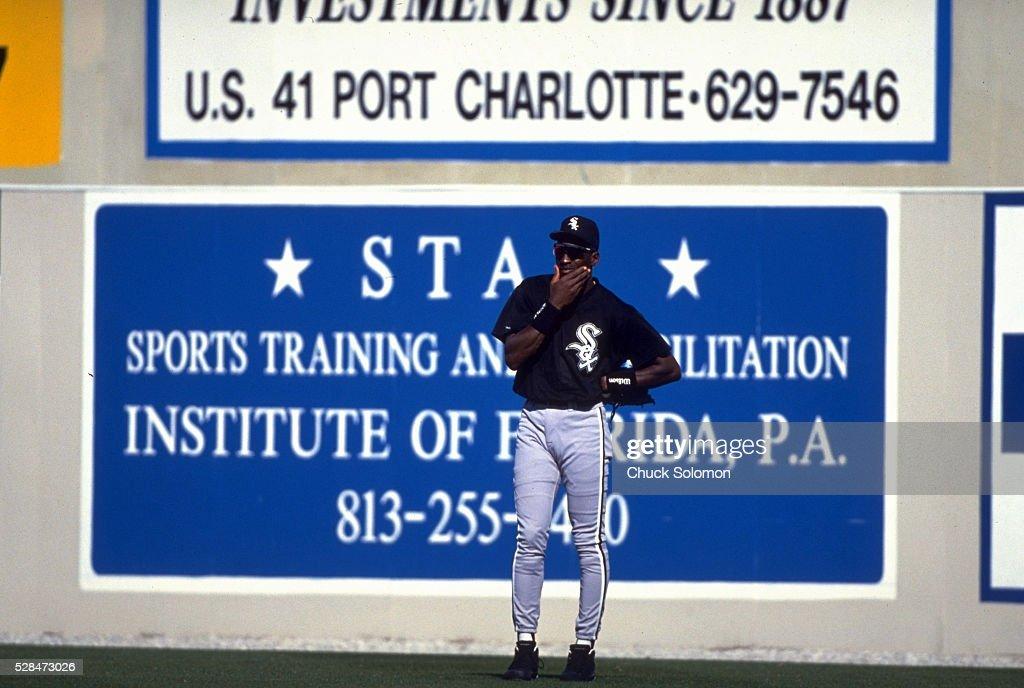 Chicago White Sox Michael Jordan in field during spring training game vs Texas Rangers at Charlotte Sports Park Port Charlotte FL CREDIT Chuck Solomon
