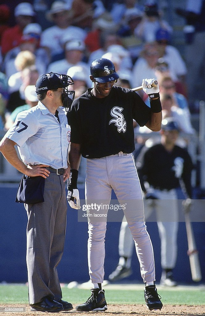 Chicago White Sox Michael Jordan speaking with umpire on field during spring training game vs Texas Rangers at Charlotte Sports Park Port Charlotte...