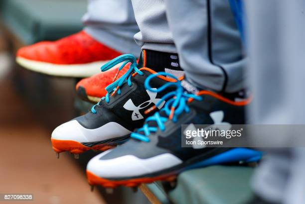 Baseball cleats in the Miami dug out during the MLB game between the Atlanta Braves and the Miami Marlins on August 6 2017 at SunTrust Park in...