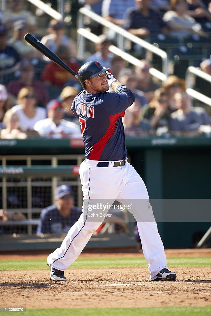 Cleveland Indians Matt LaPorta in action at bat vs San Diego Padres at Goodyear Ballpark during spring training game Goodyear AZ CREDIT John Biever