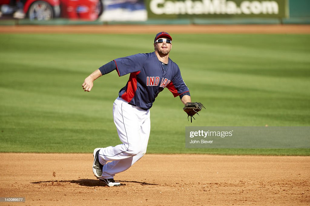 Cleveland Indians Matt LaPorta in action fielding vs San Diego Padres at Goodyear Ballpark during spring training game Goodyear AZ CREDIT John Biever