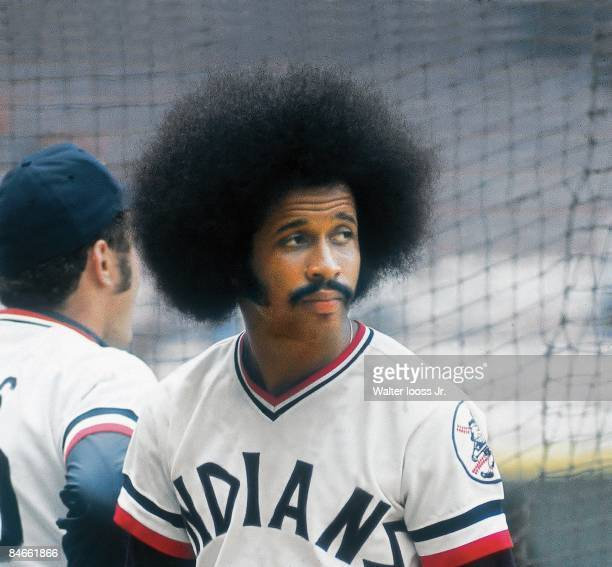 Cleveland Indians Oscar Gamble before game vs Oakland Athletics Cleveland OH 7/18/1974 Credit Walter Iooss Jr