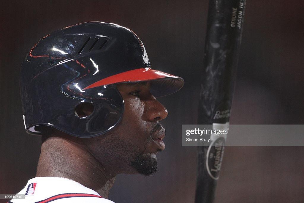 Closeup of Atlanta Braves Jason Heyward (22) on deck during game vs Chicago Cubs. Atlanta, GA 4/7/2010