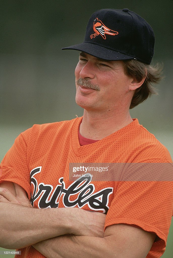 Closeup of Baltimore Orioles Mike Flanagan during spring training workout for pitchers and catchers at Twin Lakes Park facility Sarasota FL CREDIT...