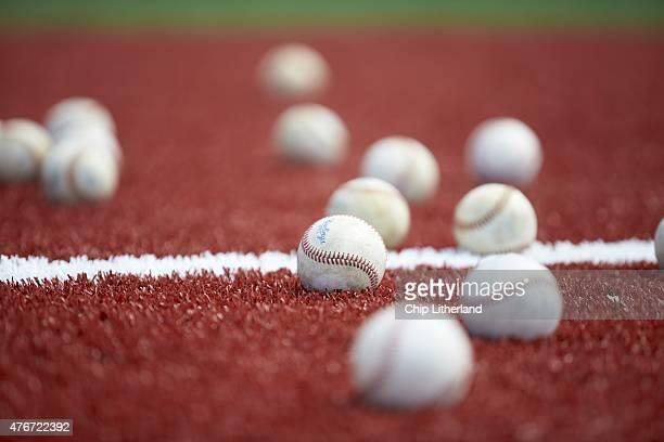 Closeup of baseballs on field during Toronto Blue Jays rehab assignment at Florida Auto Exchange Stadium Equipment Dunedin FL CREDIT Chip Litherland