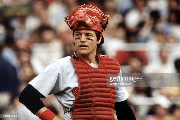 Baseball Closeup of Boston Red Sox Carlton Fisk during game vs New York Yankees Bronx NY 9/16/1978
