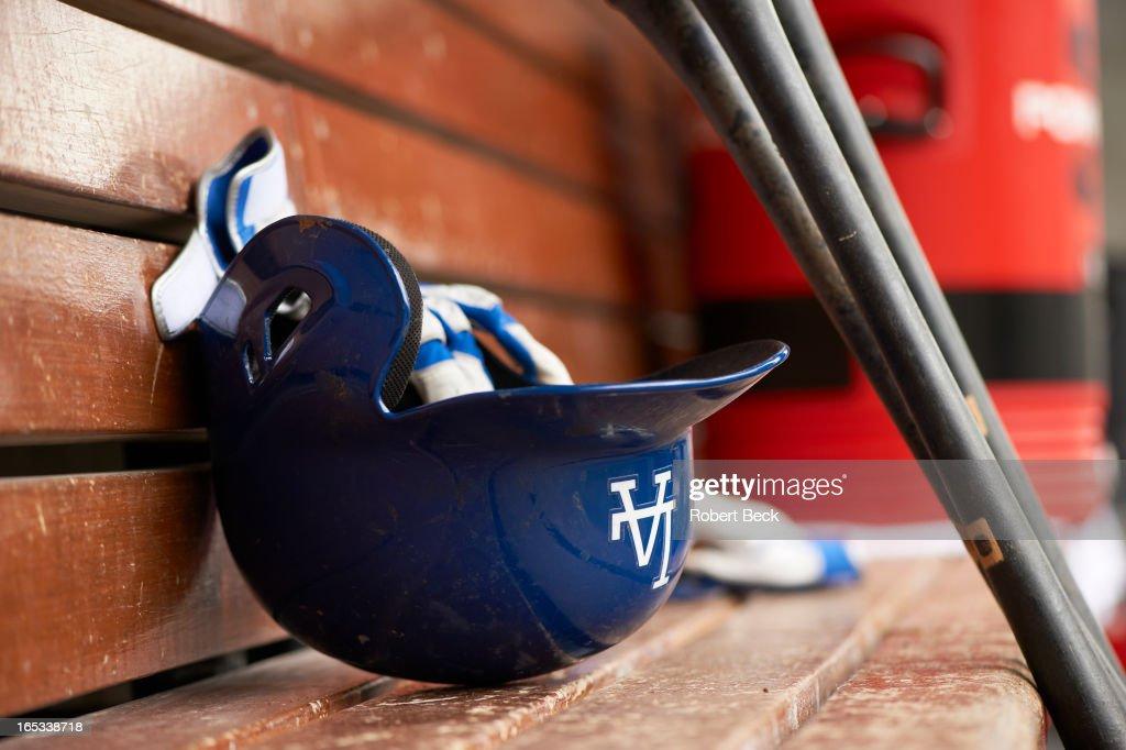 Closeup of Los Angeles Dodgers helmet in dugout during game vs San Francisco Giants at Dodger Stadium. Equipment. Robert Beck F3 )
