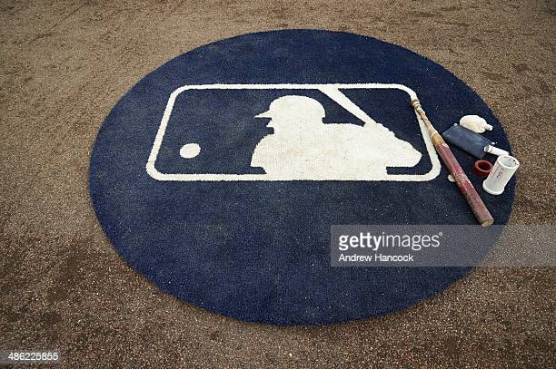 Closeup of MLB logo on on deck circle during Detroit Tigers vs Los Angeles Angels of Anaheim game at Comerica Park Equipment Detroit MI CREDIT Andrew...
