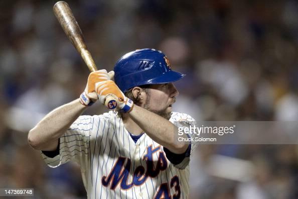 Closeup of New York Mets RA Dickey in action at bat vs New York Yankees at Citi Field Flushing NY CREDIT Chuck Solomon