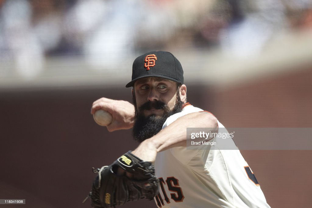 Closeup of San Francisco Giants Brian Wilson (38) in action, pitching vs Minnesota Twins at AT&T Park. Brad Mangin F202 )