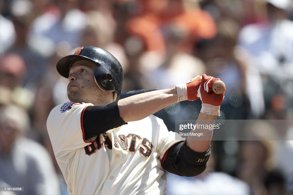 Closeup of San Francisco Giants <a gi-track='captionPersonalityLinkClicked' href=/galleries/search?phrase=Freddy+Sanchez&family=editorial&specificpeople=220611 ng-click='$event.stopPropagation()'>Freddy Sanchez</a> (21) in action, at bat vs Florida Marlins at AT&T Park. Brad Mangin F700 )
