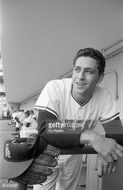 Baseball Closeup portrait of Los Angeles Angels Bo Belinsky in dugout during game vs Chicago White Sox Los Angeles CA 5/13/1962