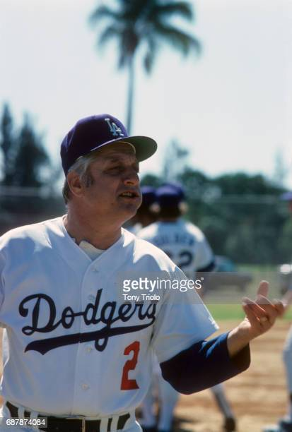 Closeup portrait of Los Angeles Dodgers manager Tommy Lasorda on field during spring training photo shoot Florida 3/3/1977 CREDIT Tony Triolo