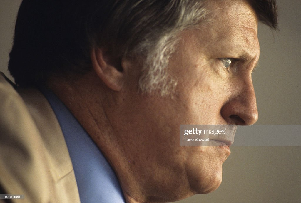 Closeup portrait of New York Yankees owner <a gi-track='captionPersonalityLinkClicked' href=/galleries/search?phrase=George+Steinbrenner&family=editorial&specificpeople=220576 ng-click='$event.stopPropagation()'>George Steinbrenner</a> during game at Yankee Stadium. Bronx, NY 8/31/1977