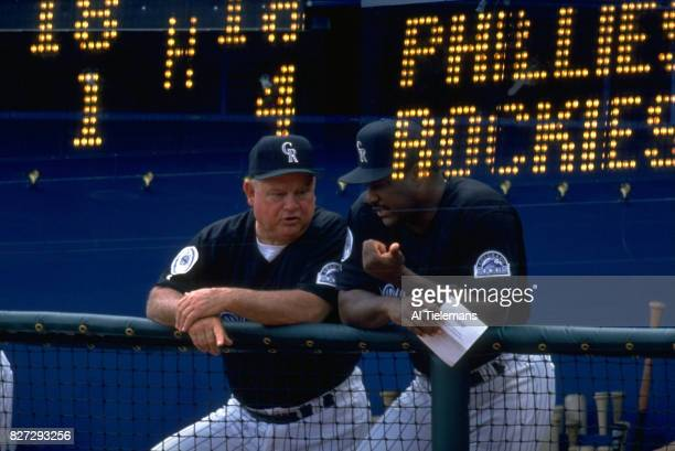 Colorado Rockies manager Don Baylor in dugout with bench coach Don Zimmer during game vs Philadelphia Phillies at Coors Field Double exposure view of...