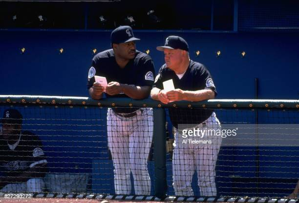 Colorado Rockies manager Don Baylor in dugout with bench coach Don Zimmer during game vs Philadelphia Phillies at Coors Field Denver CO CREDIT Al...
