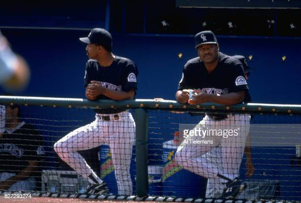 Colorado Rockies manager Don Baylor in dugout with third base coach Jerry Royster during game vs Philadelphia Phillies at Coors Field Denver CO...