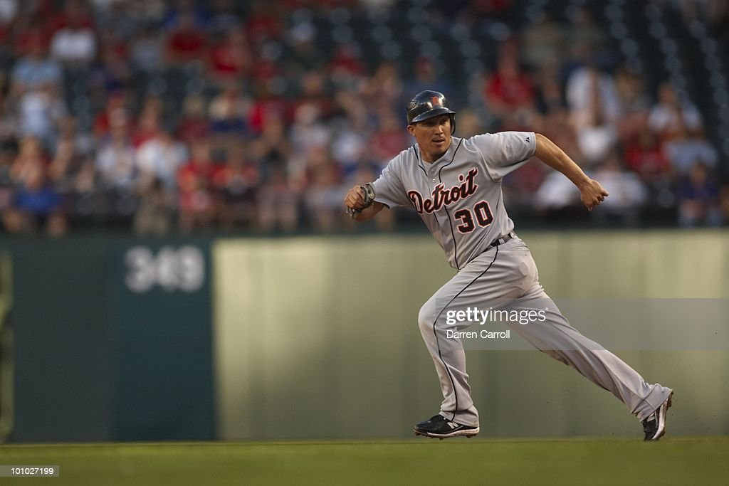 Detroit Tigers Magglio Ordonez (30) in action, running bases vs Texas Rangers. Arlington,TX 4/23/2010