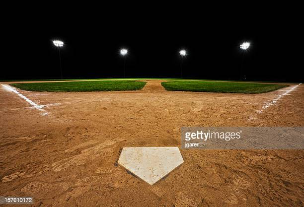 Baseball diamond at night