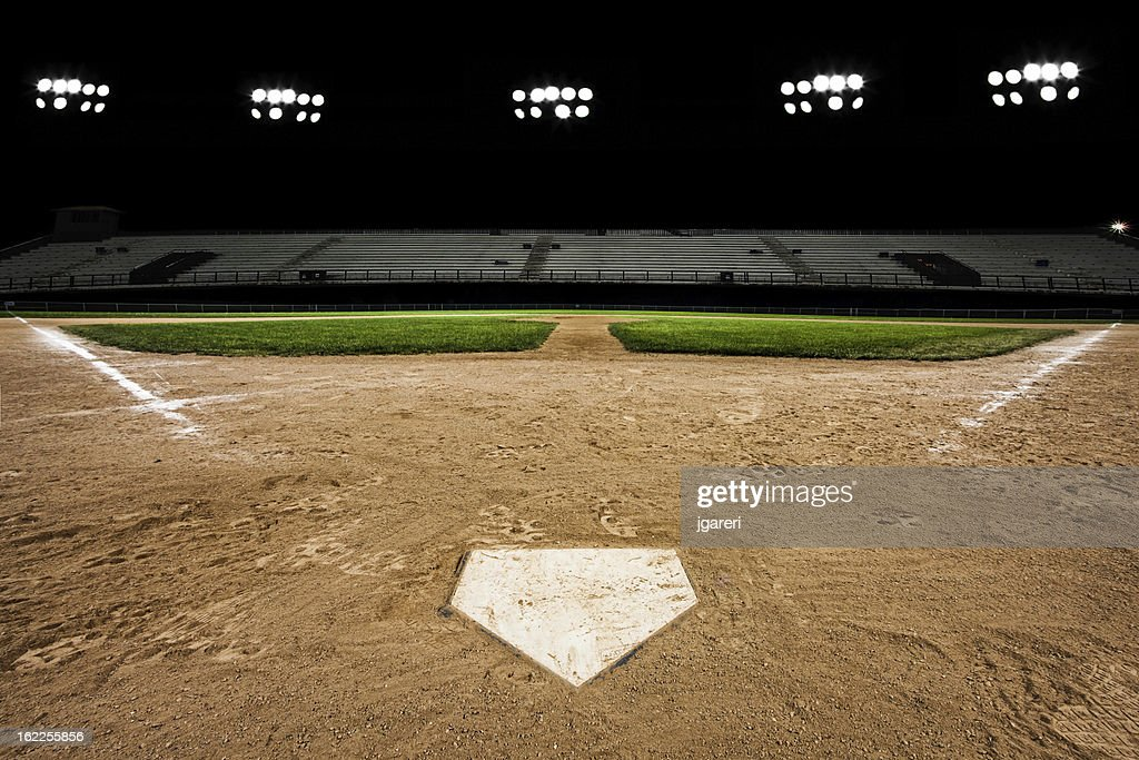 Baseball diamond at night : Stock Photo