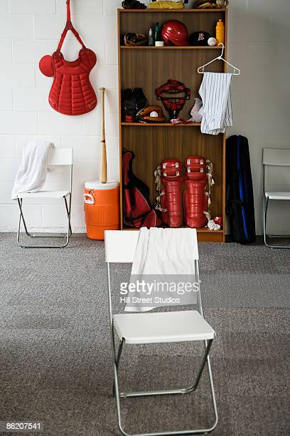 Baseball Equipment In Locker Room