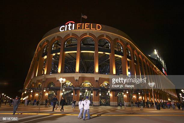 Exterior view of Citi Field stadium after New York Mets vs San Diego Padres opening day game Inaugural regular season game at Citi Field Flushing NY...