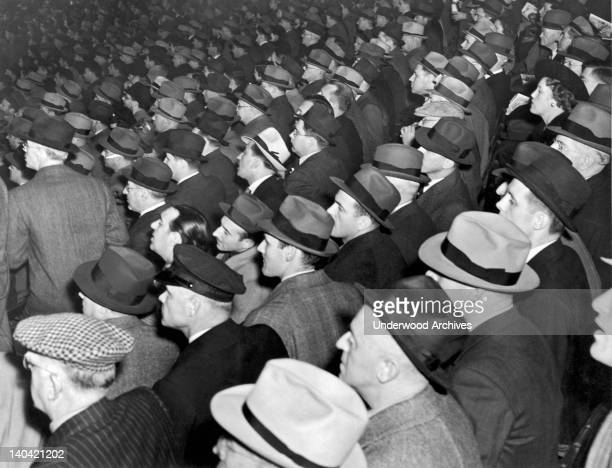 Baseball fans at Yankee Stadium for the third game of the World Series between the New York Yankees and the Chicago Cubs New York New York 1938