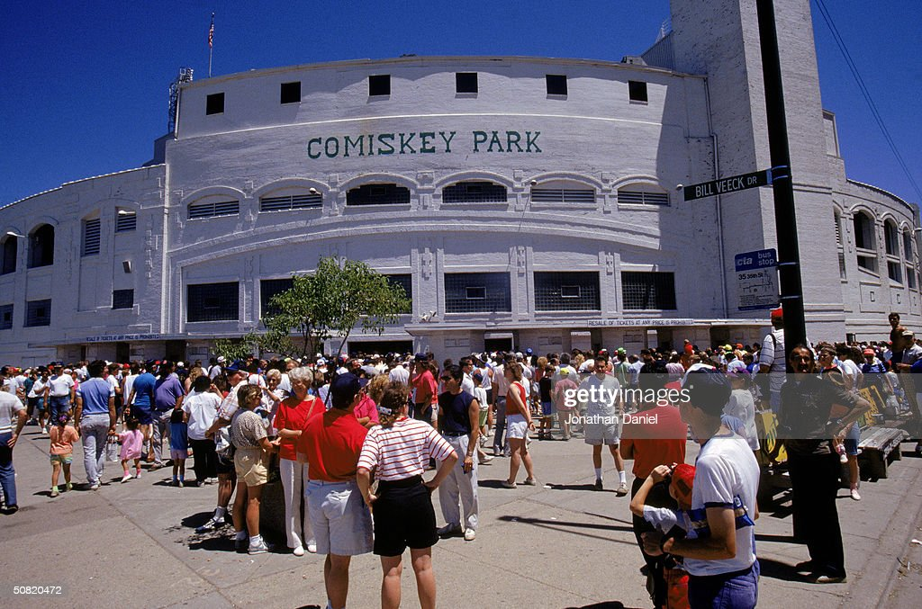 Baseball fans enter Comiskey Park circa 1990 in Chicago Illinois