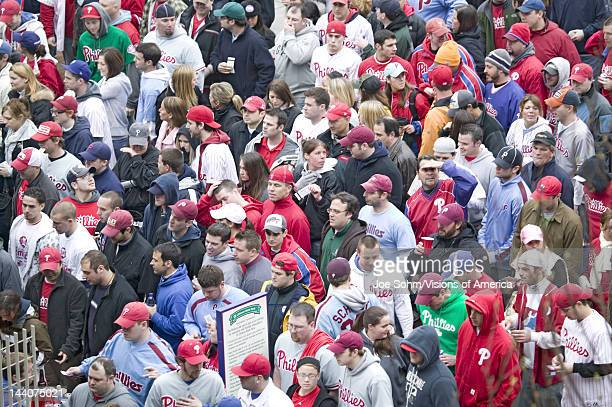 Baseball fans passing through ticket gates of Opening Game on March 31 at Citizen Bank Park where 44553 attend as the Washington Nationals defeat the...