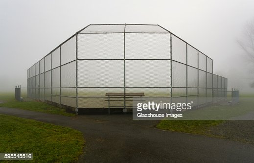 Baseball Field and Backstop in Foggy Park