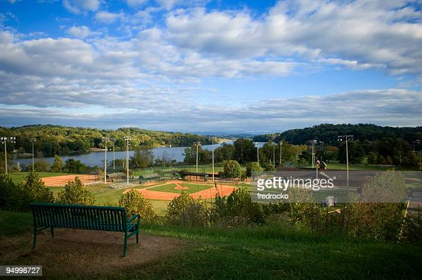 Baseball Field at Baseball Game at Park