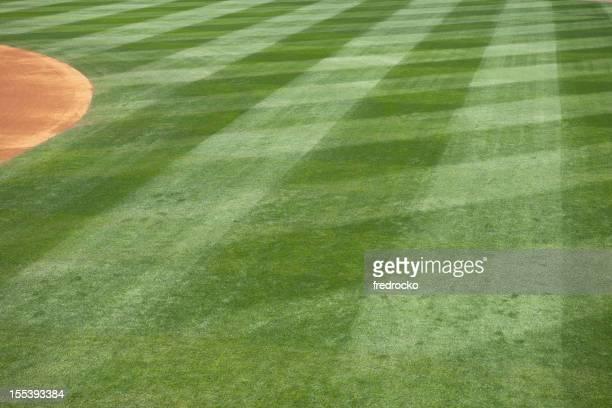 Baseball field grass cut in diamonds