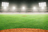 Baseball field at brightly lit fictitious outdoor stadium. Focus on foreground and shallow depth of field on background and copy space. Stadium created in Photoshop.