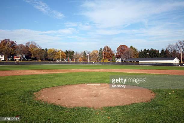 フィールドでの野球のホームプレートの前