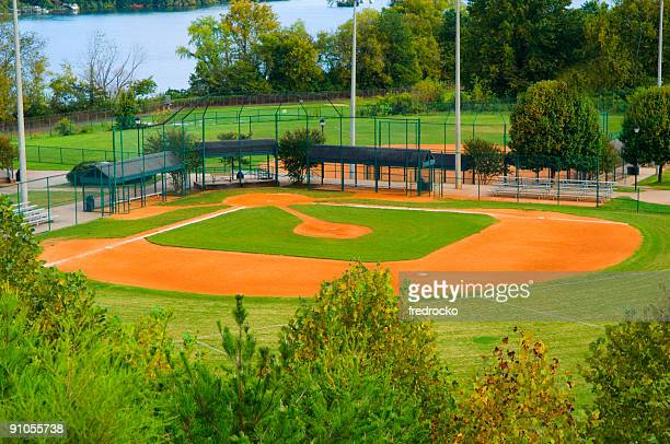 Baseball Field with Infield and Outfield at a Park