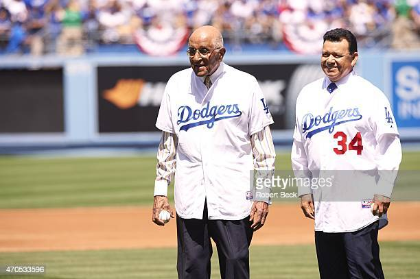 Former Los Angeles Dodgers pitchers Don Newcombe and Fernando Valenzuela preparing to throw ceremonial first pitches before game vs San Diego Padres...