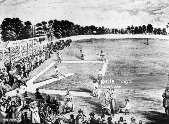 A baseball game in Philadelphia between the Philadelphia Athletics and the Brooklyn Atlantics 22nd October 1866