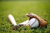 Baseball and glove Bat equipment lying on a green meadow