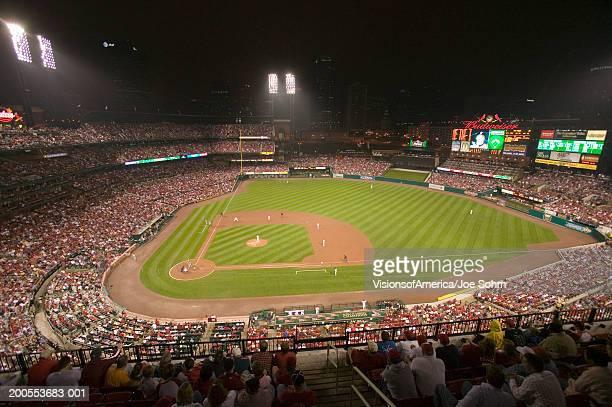 Baseball game stadium, high angle view, night